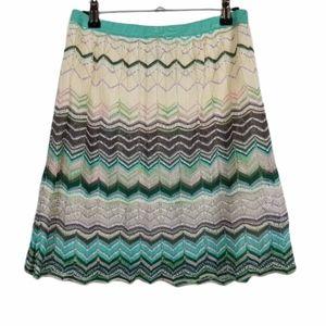 M By MISSONI Chevron Stripe Crochet Knit Skirt